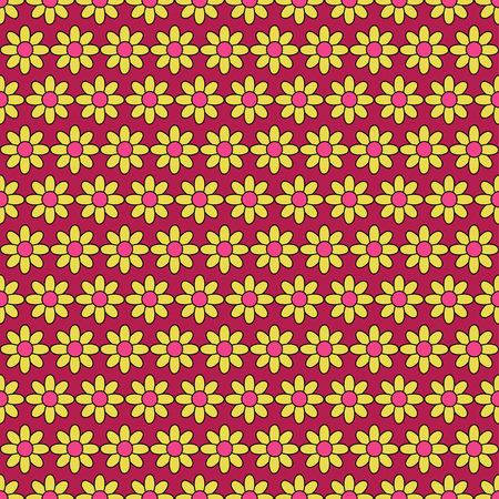 uninterrupted: Seamless colorful vector background with decorative daisies Illustration