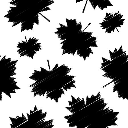 vegetal: Seamless vector background with decorative maple leaves. Print. Cloth design, wallpaper.
