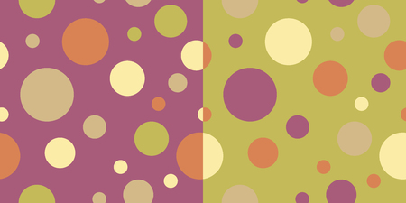tissue paper art: Set of two seamless backgrounds with circles and polka dots. Print. Cloth design, wallpaper. Illustration