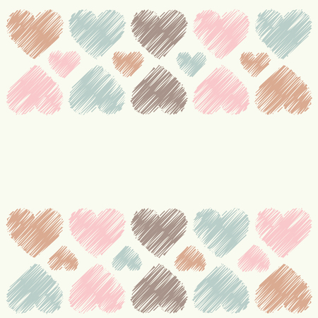 amorousness: Greeting card with decorative hearts. Vector illustration.