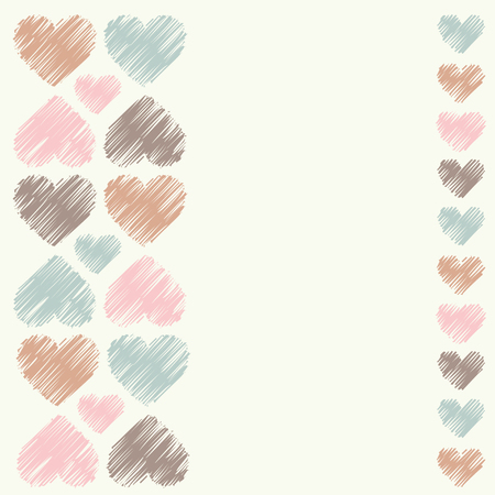 huggable: Greeting card with decorative hearts. Vector illustration.