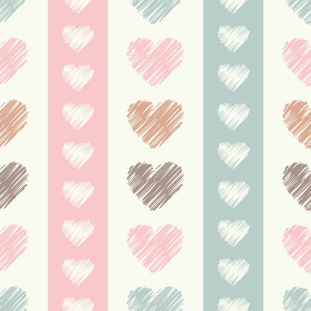 amor: Seamless vector background with decorative hearts. Print. Cloth design, wallpaper.