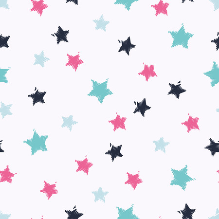 Seamless vector background with decorative stars. Print. Cloth design, wallpaper.