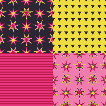 Set of 4 seamless vector background with decorative stars. Print. Cloth design, wallpaper.