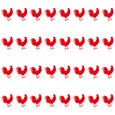 homespun: Seamless vector background with decorative roosters. Print. Cloth design, wallpaper.