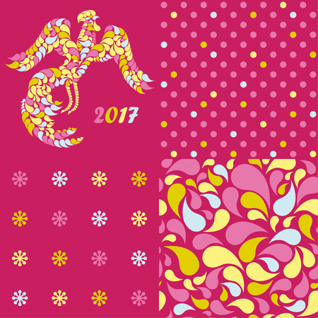 Set of 4 seamless vector background with decorative rooster. Print. Cloth design, wallpaper.