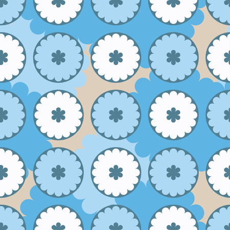 homespun: Ethnic boho seamless pattern with decorative flowers and clouds. Print. Cloth design, wallpaper.