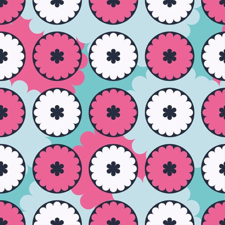 Ethnic boho seamless pattern with decorative flowers and clouds. Print. Cloth design, wallpaper.