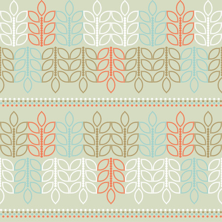 Seamless vector background with decorative branche and leaves. Print. Cloth design, wallpaper. Illustration