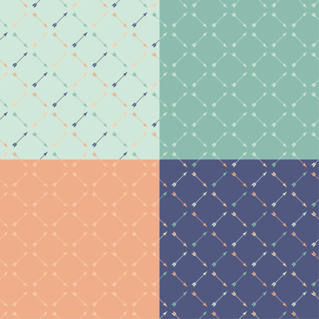 homespun: Set of 4 boho ethnic seamless patterns with arrows. Print. Repeating background. Cloth design, wallpaper. Illustration
