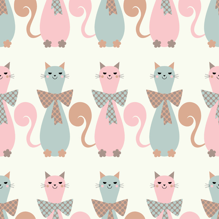 wallpaper dot: Seamless vector background with decorative cats and hearts. Bow polka dot. Print. Repeating background. Cloth design, wallpaper.