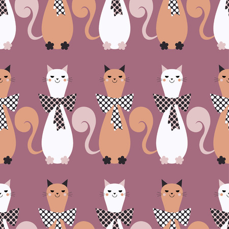 uninterrupted: Seamless vector background with decorative cats and hearts. Bow polka dot. Print. Repeating background. Cloth design, wallpaper.
