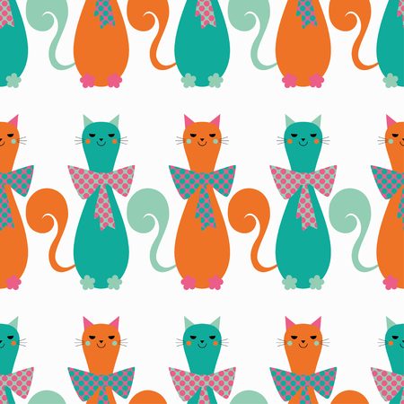 charmingly: Seamless vector background with decorative cats and hearts. Bow polka dot. Print. Repeating background. Cloth design, wallpaper.