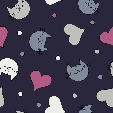 uninterrupted: Seamless vector background with decorative cats. Print. Repeating background. Cloth design, wallpaper.
