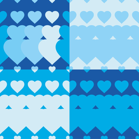 tissue paper art: Set of 4 seamless vector background with decorative hearts. Print. Poster Love. Cloth design, wallpaper.