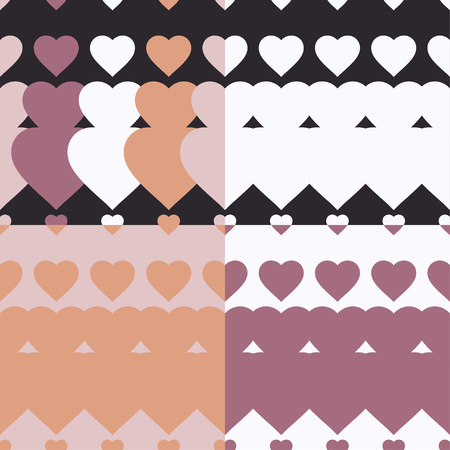 Set of 4 seamless vector background with decorative hearts. Print. Poster Love. Cloth design, wallpaper.