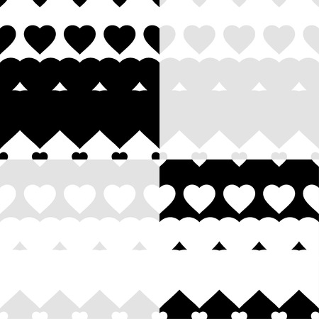 amorousness: Set of 4 seamless vector background with decorative hearts. Print. Poster Love. Cloth design, wallpaper.