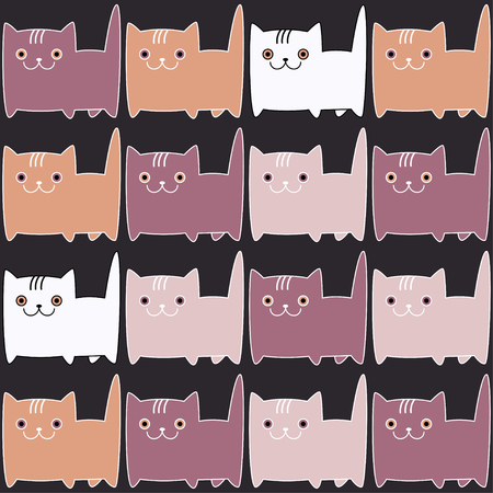 charmingly: Seamless vector background with decorative cats. Print. Repeating background. Cloth design, wallpaper.