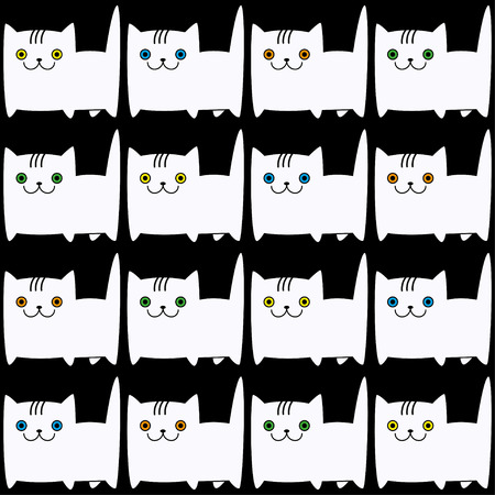 Seamless vector background with decorative cats. Print. Repeating background. Cloth design, wallpaper.