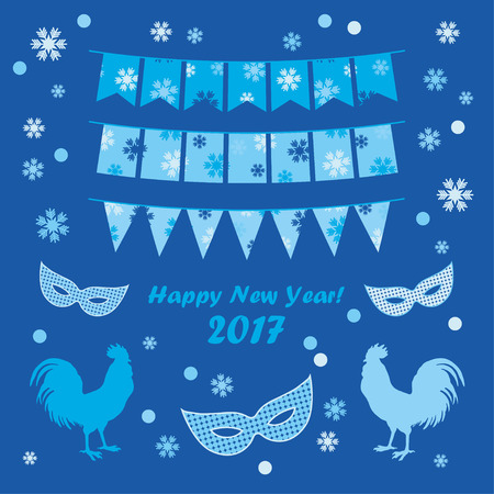 double exposure: Poster Happy New Year! Vector illustration. Greeting card.