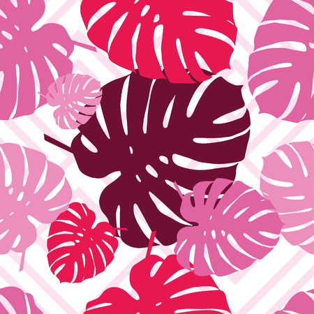 scarf beach: Seamless vector background with decorative leaves. Palm leaves. Print. Cloth design, wallpaper.