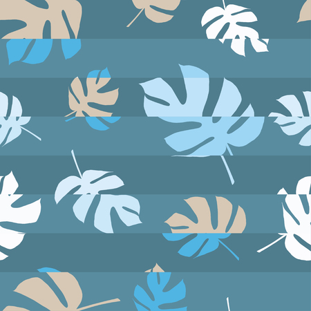 scarf beach: Seamless vector background with decorative leaves. Glitch. Palm leaves. Print. Cloth design, wallpaper.
