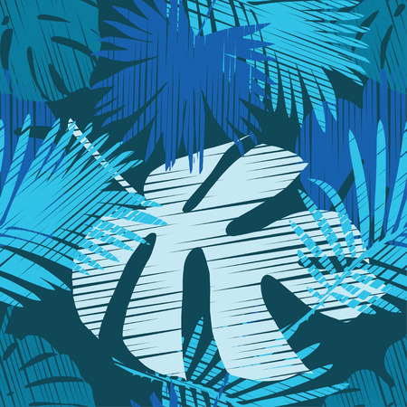 strip shirt: Seamless vector background with decorative leaves. Palm leaves. Print. Cloth design, wallpaper.