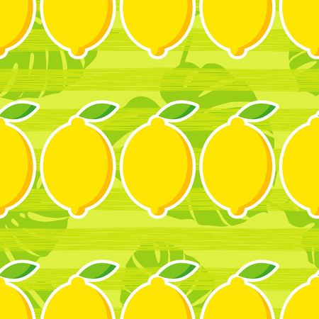 Seamless pattern with decorative lemons. Tropical fruits.