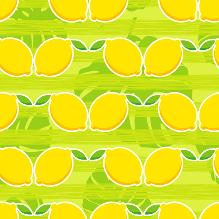 A Seamless pattern with decorative lemons. Tropical fruits. Illustration