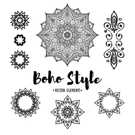 Set of Ornamental black and white Boho Style Elements. Vector illustration.