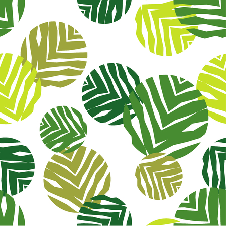 Polka dot seamless pattern on a white background. The texture of green leaves. Textile rapport.