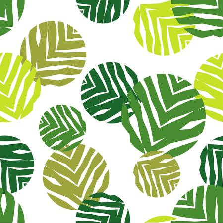 Polka dot senza soluzione di continuità su uno sfondo bianco. La consistenza delle foglie verdi. Rapporti tessili.