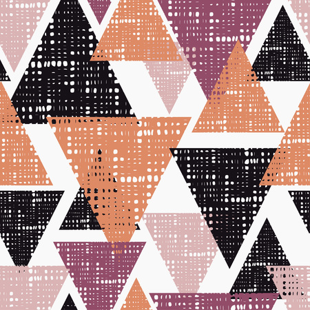 Seamless background pattern of triangles with holes. Vector illustration. Textile rapport.