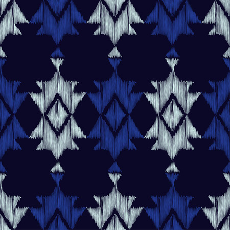 shawl: Ethnic boho blue seamless pattern. Embroidery on fabric. Retro motif. Vector illustration. Textile rapport.