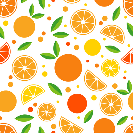 Seamless pattern with decorative oranges. Tropical fruits. Textile rapport. Illustration