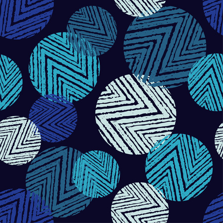 Polka dot seamless pattern with zigzag texture. Vector illustration. Textile rapport. 矢量图像