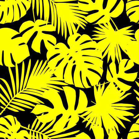Seamless vector background with yellow leaves of palm trees on a black background. Summer tropical design. Textile rapport.