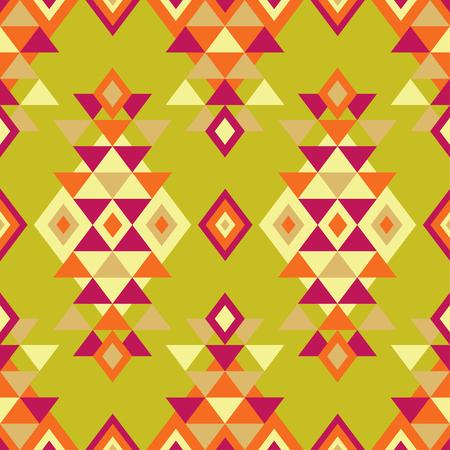 Ethnic boho seamless pattern. Tribal art print, repeatable background. Retro motif. Vector illustration. Textile rapport. Ilustração