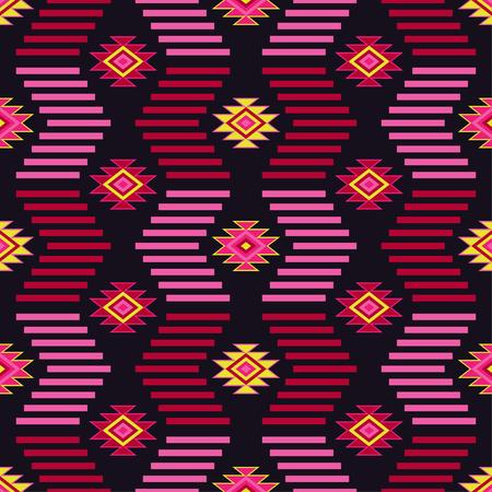 Ethnic boho seamless pattern. Tribal art print, repeatable background. Retro motif. Vector illustration. Textile rapport.