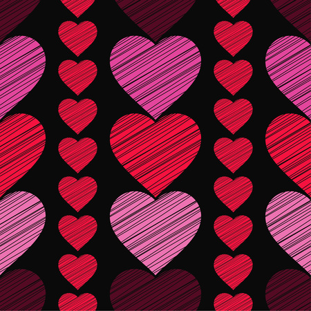 canvas print: Seamless vector background with decorative hearts. Valentines day. Strokes texture. Textile rapport. Illustration