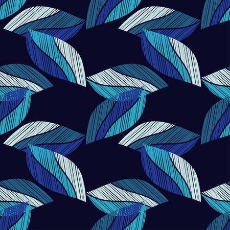 Seamless background with decorative leaves. Wood texture. Textile rapport.