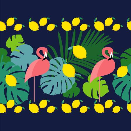 trendy tissue: Seamless border. Pink Flamingo. Illustration