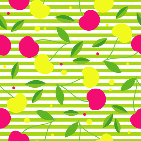 canvas print: Seamless pattern with decorative pink and yellow cherries. Garden berries. Textile rapport.