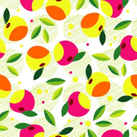 Decorative apple pattern. Seamless background. A summer garden. Textile rapport.