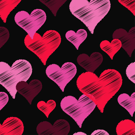 Seamless vector background with decorative hearts. Valentines day. Strokes texture. Textile rapport. Illustration