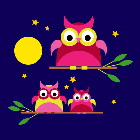 Seamless vector background with decorative owls. Moonlit night. Textile rapport. Illustration