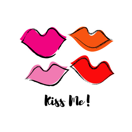 Seamless pattern with lips. Pop art style. Cloth design, wallpaper. Textile rapport.