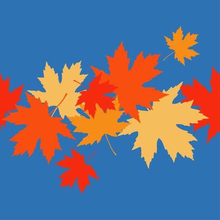 Seamless pattern with autumn maple leaves. Golden Autumn. Flat design. Textile rapport. Illustration