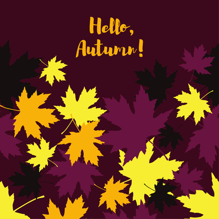 Card with autumn maple leaves. Golden Autumn. Flat design.