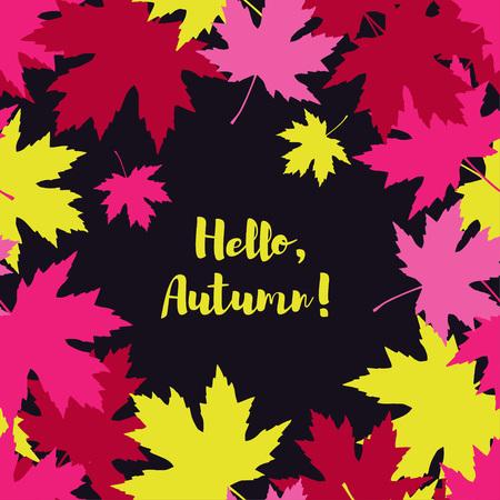 Card with autumn maple leaves. Golden Autumn. Flat design. Vetores